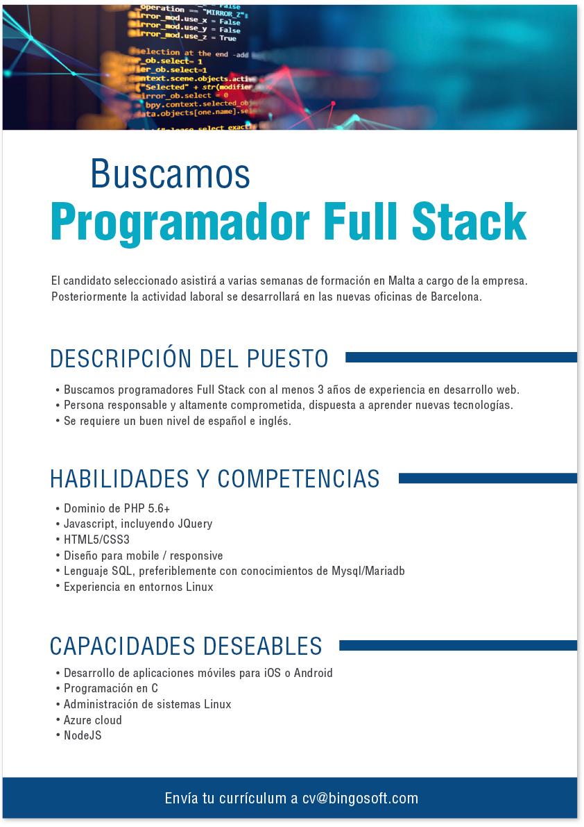 oferta trabajo bingosoft